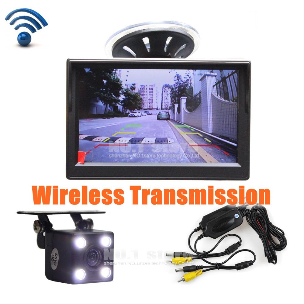 Wireless Waterproof CCD Reverse Backup Car Camera LED Night Vision + 5 inch LCD Display Rear View Car Monitor Free Shipping(China (Mainland))