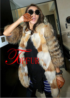 2014 DHL EMS Free Shipping new Genuine red fox Fur coat with Raccoon Fur sleeve For Women Winter Warm Long Fur Coat  FP330