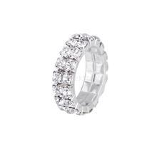 New 2014 Brand New Elastic Silver Tone 2 Row Crystal Rhinestone Toe Ring Bridal Jewelry Free