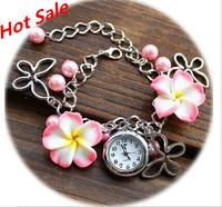 2014 Fashion Flower Bracelet Watch Holiday Quartz Analog Clock Hours Luxury Ladies Relojes Women Dress Watches New Cartoon watch