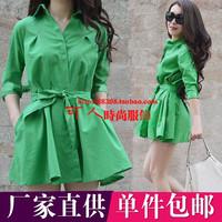 2014 autumn normic fashion small loose slim waist shirt princess puff skirt female e5-18e