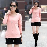 Tx545 2014 autumn and winter women casual slim plus velvet thickening cotton long-sleeve basic shirt