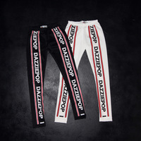 Autumn fashion trend of the street fitness pants sports letter color block at home black and white yoga legging