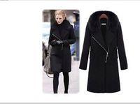Black Womens Winter Warm Fur Collar Thicken Wool Coat Lapel Zipper Jacket s HG
