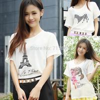 Summer female T-shirt short-sleeve top loose small fresh silk chiffon shirt