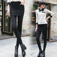 Kz639 autumn and winter women plus velvet slim skinny pants elastic waist culottes legging