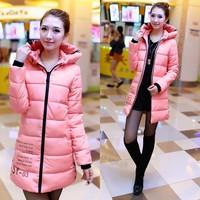 2014 Winter Long Down Coat With A Hood Fashion Slim Women's Wadded Parka Jacket Outerwear