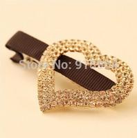 H003 Woman Fashion Vintage Hair Jewelry Crystal Heart Bowknot Crown O Shape Hair Stick Hairpin Hairgrip
