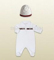 Retail 2014Fashion yes cotton Baby clothing set short sleeve baby bodysuits+Hat 2pcs set Newborn Turn-down Collar roupasparabebe