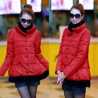 2014 short design plus size A - shaped cloak type down cotton-padded jacket babydoll wadded jacket women's