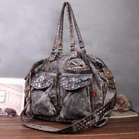 2014 new model vintage Jeans bags rivet denim canvas bag multi-purpose denim tote handbag big capacity  women's handbag