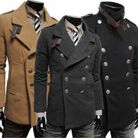 Free shipping Wool Coat Men men winter coat Turn-down Collar Cotton Leisure mens wool coats winter 2014 long wool coat men