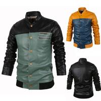 FreeShipping 2014 NEW Arrive leather jacket zipper decoration beautiful patchwork male slim leather clothing men leather jacket