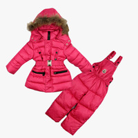 Girls Winter clothing set Brand children's sport suit set Ski suit sport sets High quality windproof Down Jackets+pants