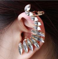 High Quality Fashion Rose Gold Luxury Women Rhinestone Ear Cuff New Clip Earrings Free Shipping