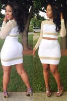 Sexy Club Bandage Dress 2014 Fashion Long Sleeve White Mesh Patchwork Slim Bodycon Dresses,Women Evening Party Dress Clubwear