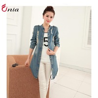2014 New Arrival Winter Fashion women plus size mandarin collar Casual Long Denim Jackets Coat Jean Outerwear # 6745