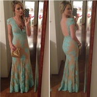 Exquisite mermaid evening dresses! Sexy V neck beautiful mint appliques backless gown custom made new design long formal dresses