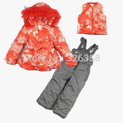 2015 new baby girls winter jacket + vest + pant /kids Ski suits snowboard wear/children snow wear Ski Jacket warm outdoor coats(China (Mainland))