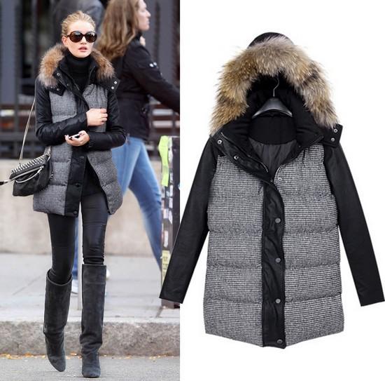 Free shipping!014 Fashion down coat Winter jacket women,winter coat women winter color women down jacket women parka+PU leather(China (Mainland))