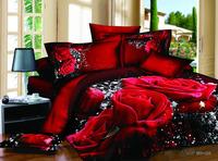 Red rose 3D bedding set black bedclothes big flower white bed linens 3d comforter cover set bedsheet pillowcases cotton B2886