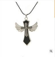 FREE shipping Classic man necklace angel wings cross necklace titanium steel necklaces