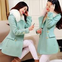 S M L XL XXL size women's coats 2014 new plus size slim medium long women's wool coat woolen overcoat free shipping