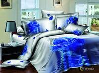Blue rose 3D bedding sets silver grey bedclothes big flower bed linens 3d duvet cover set bed sheet pillowcases 3d bed set B2887