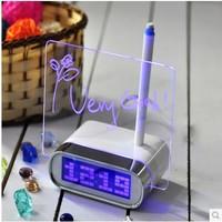 2014 New Hot Blue/green Light Timer Digital Message Board Clock Alarm Calendar LED Digital lazybones Alarm Clock creative alarm