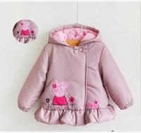 2014 new autumn cartoon cotton-padded overcoat peppa pig winter outerwear flower girl's polka dot thick jacket