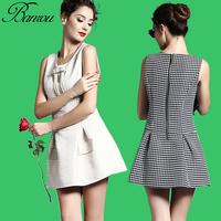 Womens Printed Drop Waist Dress  Round Neck Slim A Line Sleeveless Tanks Top Pleated Dress Jacquard Peplum Hem