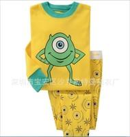 2014 cartoon  monster children's pajamas set/Casual kids cotton sleepwear/New arrived kids clothing set