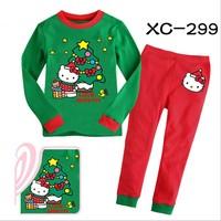 2014 cartoon girls pajamas set/Christmas girls cotton clothing set/Lovely KT children sleepwear