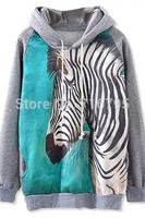2014 Women Raglan Sleeves Zebra Pattern Fleece Hoodie Free Shipping