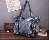 2014 new arrival A class rhinestone women's handbag ladies washed denim shoulder bag one shoulder cross body bag