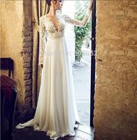 free shipping robe de soiree 2014 new fashion fashion sexy backless v-neck long sleeve vestido de festa lace evening dresses