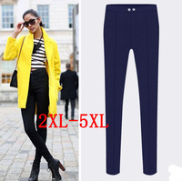 Europe new 2015 fat women pencil pants button high waisted plus size 5XL pants women's  trousers XXL/XXXL/XXXXL/XXXXXL TY8085LK