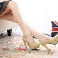 2014 High Quality PU Leather Ankle Strap Women High Heels Leisure Brand Wedding Women Platforms Stiletto
