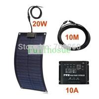Perfect Fiberglass KIT 20W 12V Fiberglass  Semi-Flexible Solar Panel & 10m cable with connector&10A 12V 120W solar controller!