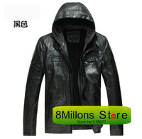 2014 autumn and winter fur Australian sheep skin Men's leather leather Fashion hooded Suede BO# 23