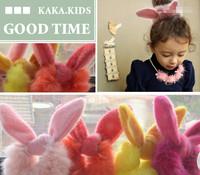 2014 Fall Winter Real rabbit fur pompon hair band/hair holder/hair scrunchies/ for children hair accessories Wholesale
