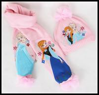 Wholesales Frozen Girl Children Scarf & Hat Frozen Queen Elsa & Anna Muffler Neckerchief & Cap Hat In Stock Free Shipping