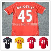 A+++ Liver-Po Jerseys 14/15 Balotelli #45 Home 100% Thailand Yellow Black Soccer Kits Shorts Sturridge Sterling Gerrard Jersey