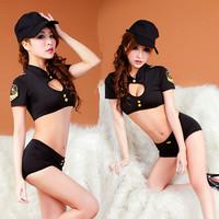 Sexy Stewardess Clothes DS Dancer Suite  Automobile Race Set  T-shirt + shorts + hat 3 PCS XTZ040