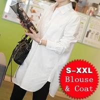 Big White Blouse Women Coat Linen Shirt Turn-down Collar Long Sleeve Casual Loose Tops For Big Women Plus Size S-2XL T48025