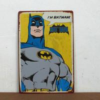 Cartoon BAT MAN Retro iron Poster Vintage Antique Metal Tin Signs Home Club Kid's room Hotel Decor D-36