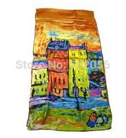 100% Silk scarf Van Gogh Artist oil painting long silk scarf Hot-selling High Quality all season 42*160cm #3698