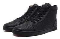 Free shipping fashion men black genuine leather flat sneakers python buckled high top casual shoes red bottoms
