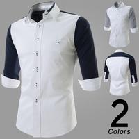 new2014 high-quality casual dress shirt Men's leisure pure color long sleeve shirts men plus size M-XXL TOPS  100% cotton
