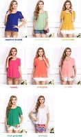 2014 Women Blouse Spring New 2014 Summer Fashion Ladies Casual short Chiffon Shirt Plus Size Clothing Blusas Femininas Blouses
